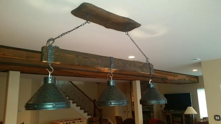 log pool table lights - rustic billiards
