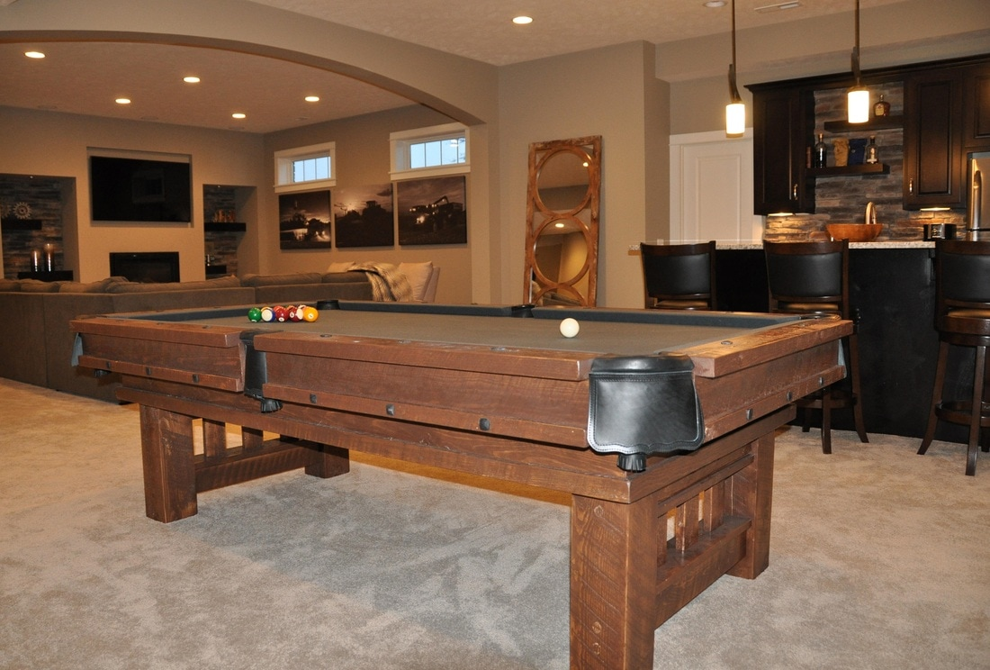 Rustic Billiards Log Pool Tables - How much room for a pool table