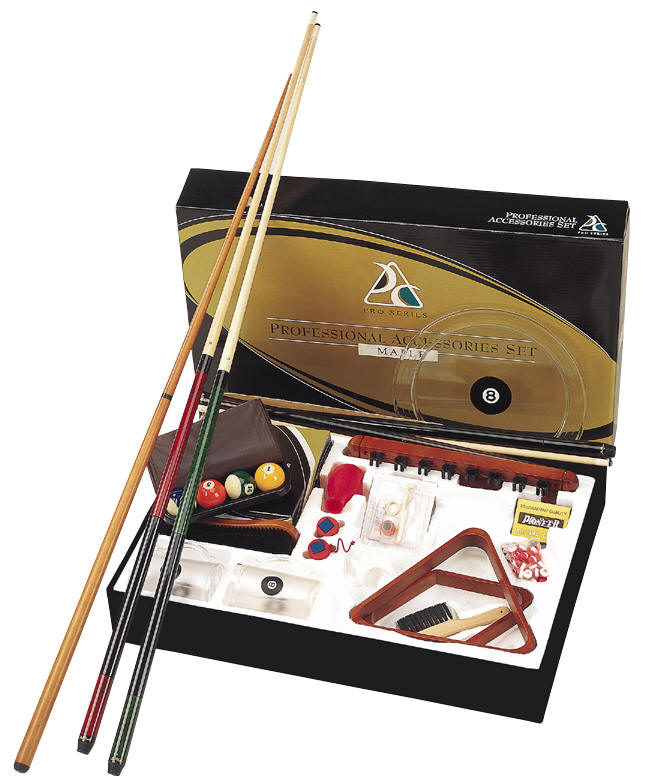 Log Pool Table Kit with balls and triangle cues brush