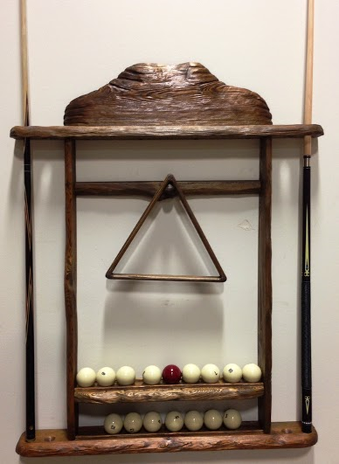 Log Pool Table Cue Ball Holder
