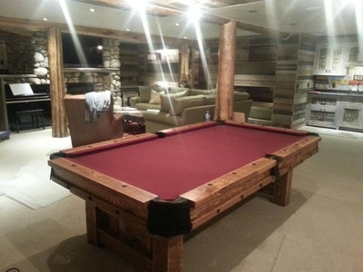 Rustic Log Pool Table