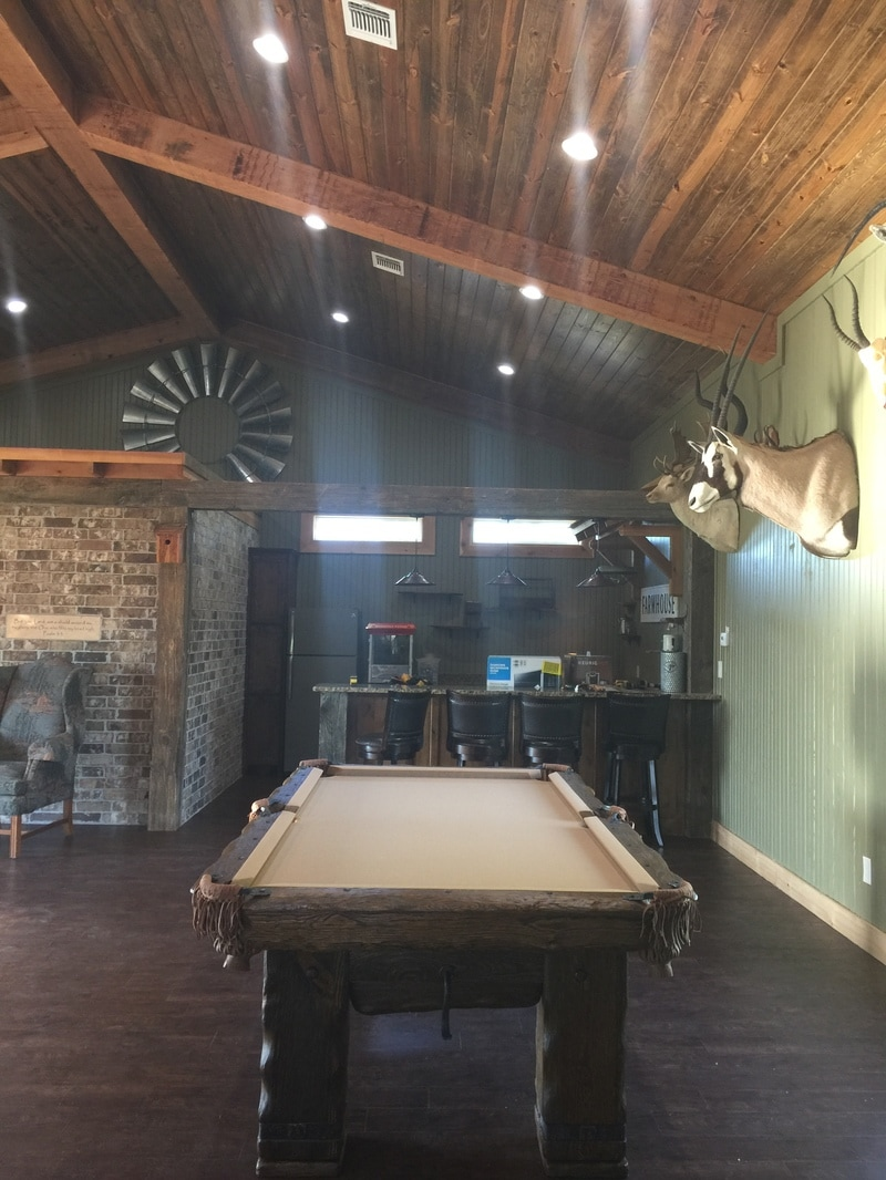 Grizzly Log Pool Table in Farmhouse