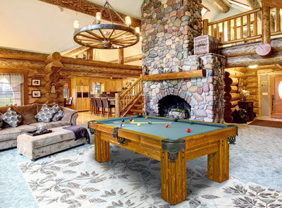 Rustic ranch log cabin pool tables